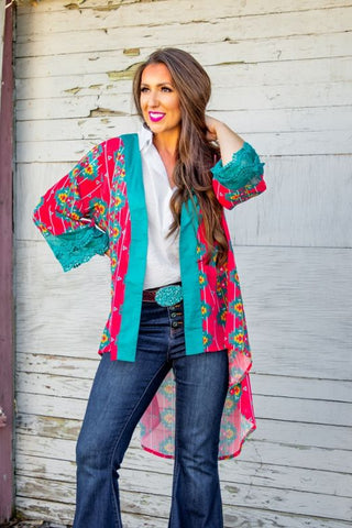 Turquoise & Coral Aztec High-Low Kimono With Lace Trim