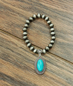 Natural Turquoise, Navajo Pearl Stretch Bracelet - Various Styles