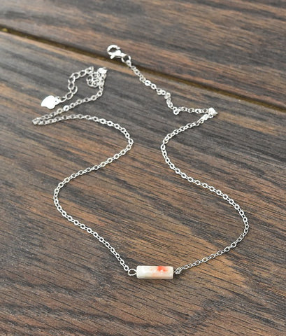 Thick* Sterling Silver Chain Necklace with Tiny Natural Stone in White