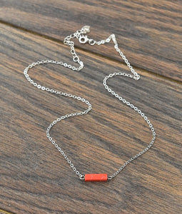 Thick* Sterling Silver Chain Necklace with Tiny Natural Stone in Red
