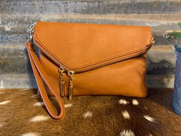 Camel Fold Over Clutch