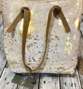 Gold Acid Washed Cowhide Large Myra Purse