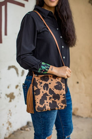 Brown Cow Print Cross Body Bag