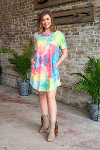 Neon Tie Dye Basic Strappy Flutter Dress With Pockets