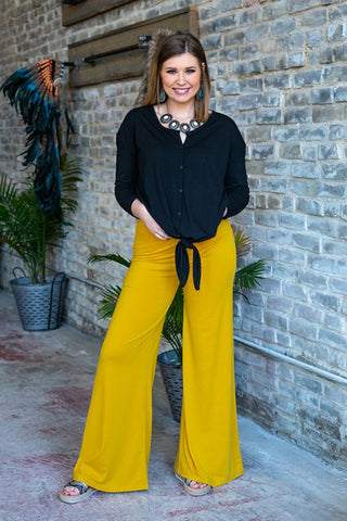 Pineapple Wide Leg Palazzo Pant With Elastic Waistband