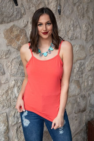 Spring Coral Cami With Adjustable Straps