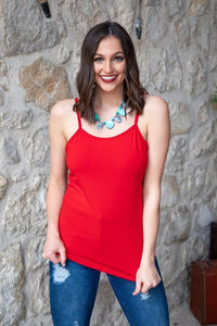 Candy Red Cami With Adjustable Straps