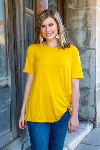Basic Mustard Scoop Neck Top With Side Knot