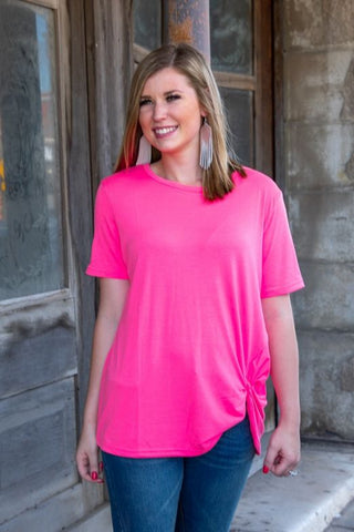 Neon Pink Basic Scoop Neck Top With Side Knot