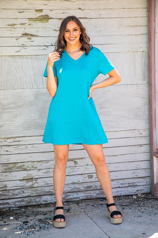 Jade V-Neck Dress With Pockets
