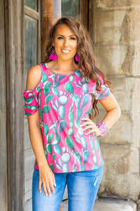 Neon Pink Saguaro Loose Fit T-Shirt With Distressing