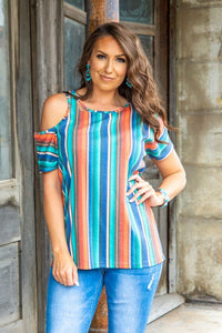 Turquoise Orange Serape Loose Fit T-Shirt With Distressing