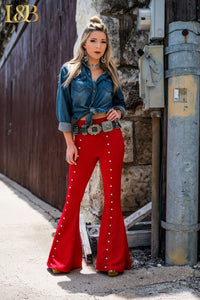 Ruth Red Studded Pants