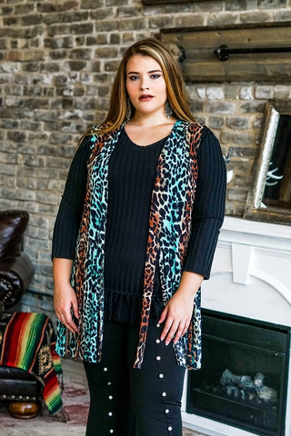 Teal Brown Leopard Short Shredded Fringed Vest Plus Size