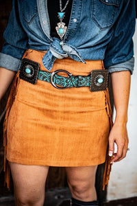 Turquoise Square Concho Belt