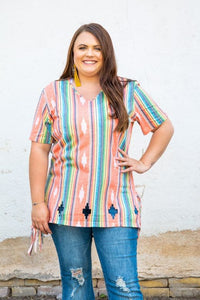 Coral Serape Mineral Wash Shirt With Fringe