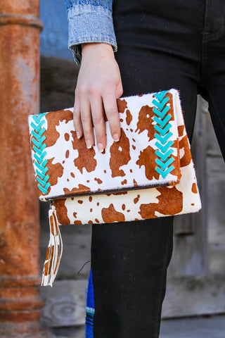 Cowhide Crossbody Bag With Turquoise