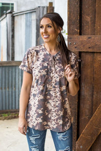 Brown Cowhide Lace Up Tee Shirt