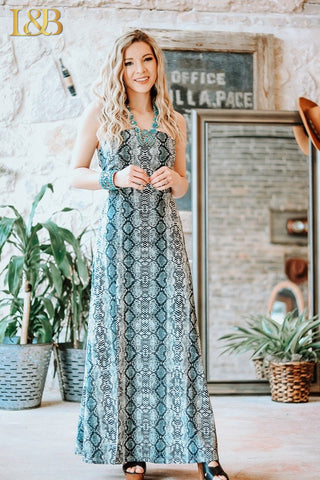 Snake Cross-Back Maxi Dress