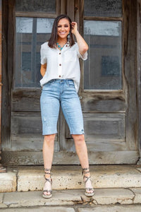 Light-Wash Distressed Bermuda Shorts