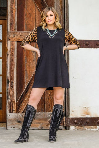 Black W/Leopard 3/4 Sleeve Straight Hem Tunic