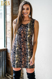 Brown Snake Printed Sleeveless Tank Dress