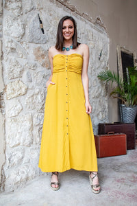 Mustard Button-Down Halter Maxi Dress