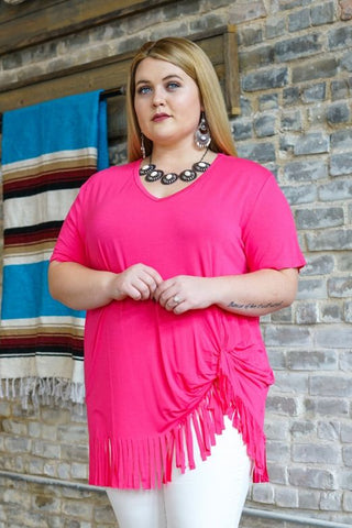 Neon Pink V-Neck Top With Fringe Hem