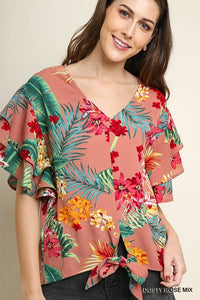 Tropical Floral Print Layered Ruffle Short Sleeve V-Neck Top with Center Waist Tie
