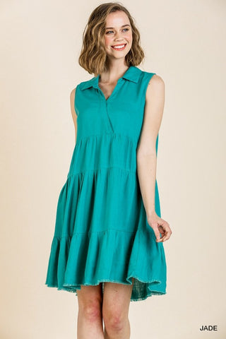 Sleeveless V-Neck Collared Ruffle Dress with Frayed Hem