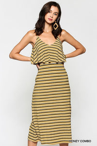 Sleeveless Striped Ribbed Midi Dress with Side Slits