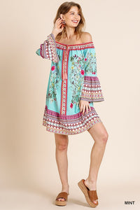 Floral Scarf Print Off Shoulder Bell Sleeve Dress with Ruffle Hem and Drawstring with Tassel Ties