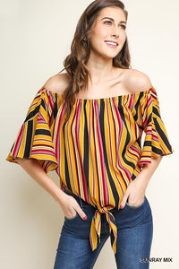 Multicolor Striped Off Shoulder 3/4 Bell Ruffle Sleeve Top with Front Waist Tie and Scoop Hem
