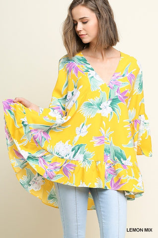 Tropical Floral Print V-Neck Babydoll Top with Ruffled Bell Sleeves and a High Low Hem