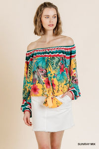 Tropical Print Long Puff Sleeve Off Shoulder Top with Waist Tie and Scoop Hem