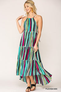 Multi-Striped Halter Neckline Tiered Maxi Dress Hi-Lo Hem