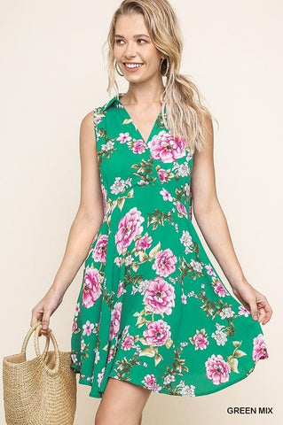 Sleeveless Floral Print Collared Babydoll Dress with a Surplice Neckline