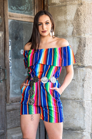 Blue Serape Off The Shoulder Romper
