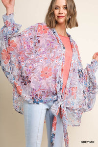 Sheer Tropical Floral Print Puff Sleeve Cardigan with Front Knot