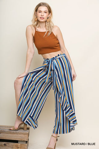 Striped Ruffle Wide Leg Pant with Waist Tie