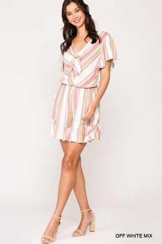 Striped V-Neck Ruffled Romper with Front Tie