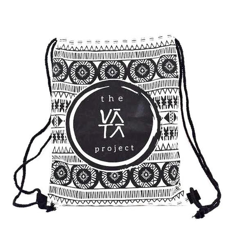 Tribal Print Drawstring Bag made of canvas material with large VATA Logo
