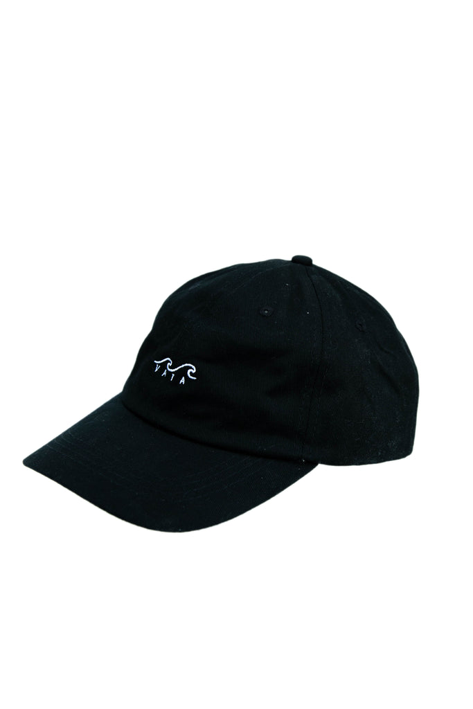 9e2026a5939 Black Dad Hat with white embroidered Wave Logo