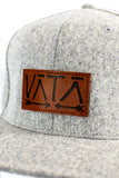Wool Snapback flat brim wool hat with leather VATA patch on front