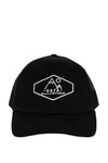 Black trucker hat with Mountain embroidered logo on front for VATA Hat Co.