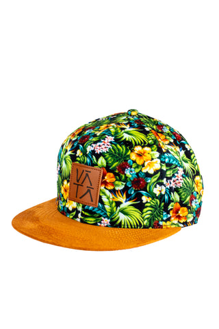 Green and suede Floral Flat Brim Hat with leather strapback and leather logo patch on front
