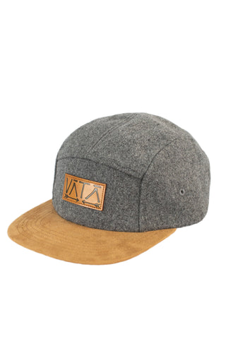 Grey Wool five-panel flatbrim hat with leather vata logo on front and strapback