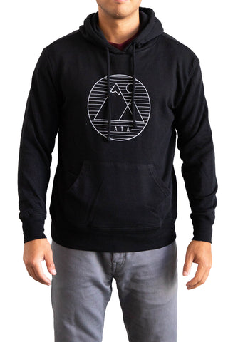 Man Wearing Black Hoodie with VATA mountain logo