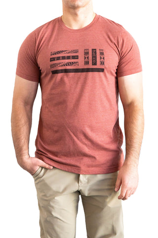Red Clay VATA Project T-Shirt on a man with hand in pocket