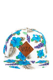 Blue and white floral snapback flat brim hat with leather VATA patch on front